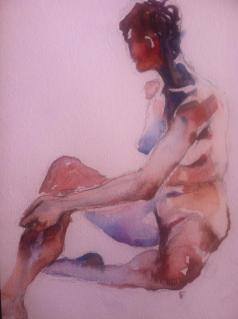"""""""Female Distracted"""" Watercolor 11x14"""" $275"""