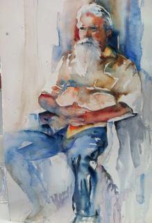 """Don't Fear the Beard"" Watercolor 22x15 $275"