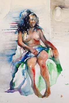 """Wild Mane"" Watercolor 22x15"" $275"