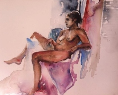 """Fadia Reclined"" Watercolor 22x15"" $275"