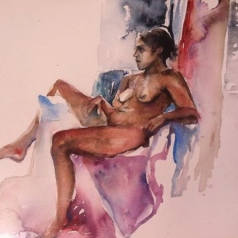 """Fadia Reclined"" Watercolor 22x15"" $275"