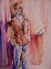 """""""Alex on Board"""" Watercolor 12x 16"""" $175"""