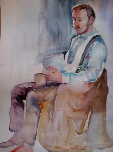 """""""Alex Chillin'"""" Watercolor 12x16"""" $175"""