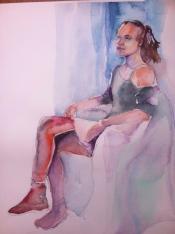 """I Don't Care"" Watercolor 12x16"" $175"