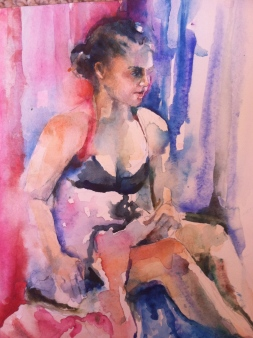 """Fadia"" Watercolor 12x16 $175"