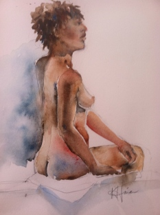 """""""Seated Woman 2"""" Watercolor 11x15 $275"""