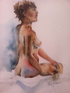 """Seated Woman 2"" Watercolor 11x15 $275"