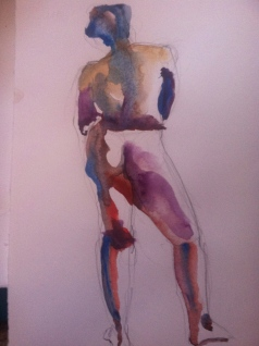 """Figure Study Female 2"" Watercolor 11x7.5"" $125"