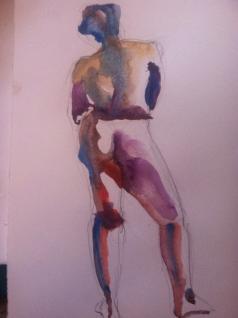 """Figure Study Female 2"" Watercolor 11x7.5"" $125"