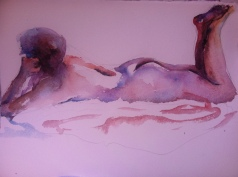 """""""Reclined Figure Study"""" Watercolor 11x15"""" $125"""