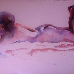 """Reclined Figure Study"" Watercolor 11x15"" $125"