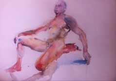 """Male Posing"" Watercolor 22x15 $175"