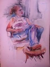 """Kickin Back"" Watercolor 22x15"" $195"