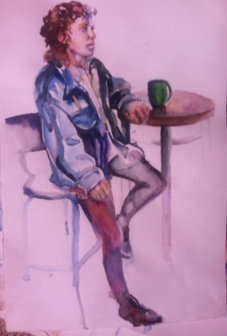 """""""Cafe"""" Watercolor 22x15"""" $195"""