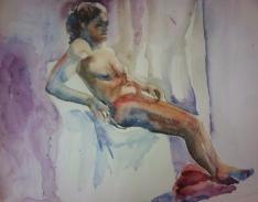 """Fadia reclined 2"" Watercolor 22x15 $275"
