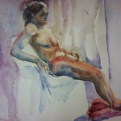 """Fadia reclined 2"" Watercolor 22x15 $275"