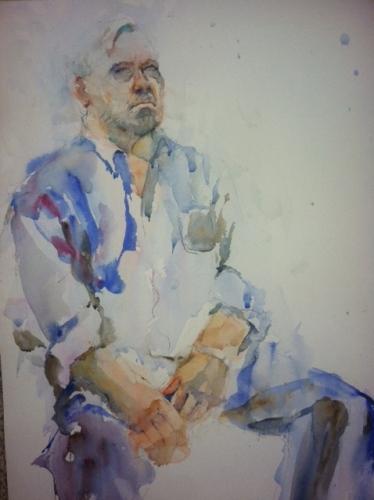 """""""Man in Repose"""" Watercolor 22x15"""" $195"""