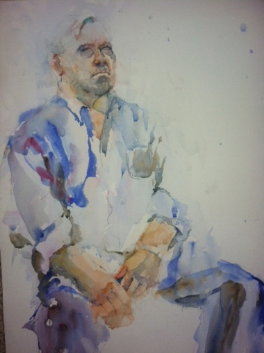 """Man in Repose"" Watercolor 22x15"" $195"