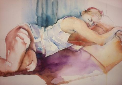 """Catnap"" Watercolor 22x15 $195"