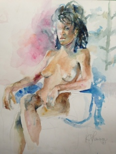 """Outward Gaze"" Watercolor 14x14"" $150"