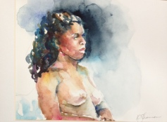 """Woman in Profile"" Watercolor 13x9.5"" $75"