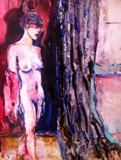 """""""Beyond the Curtain"""" Watercolor on Yupo 11x14 $225"""