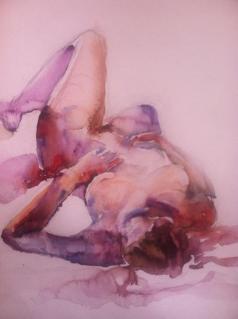 """Reclining Woman"" Watercolor 11x15"" nfs"