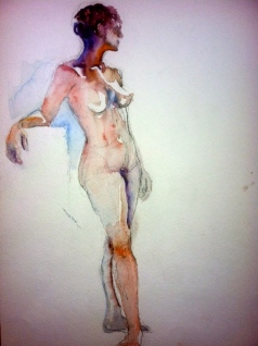 """Gaze Away"" Watercolor 11x15"" $275"