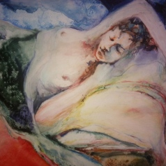 """Reclining with Pillow"" Watercolor on Yupo 11x14 $250"
