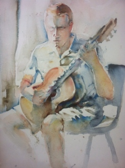 """Classical Guitar"" Watercolor 22x15 $475"