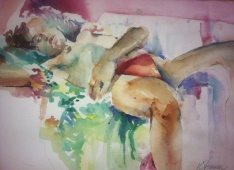 """""""Reclining in Floral"""" Watercolor 11x15"""" $275"""