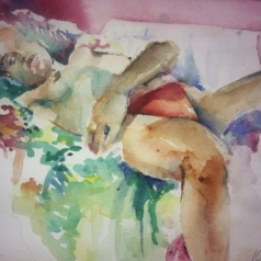 """Reclining in Floral"" Watercolor 11x15"" $275"