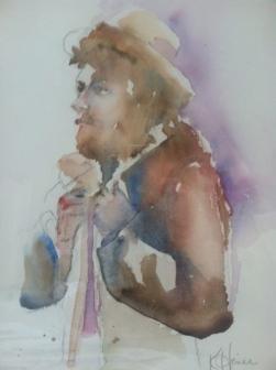 """""""Fisherman"""" Watercolor 11x15"""" $175"""