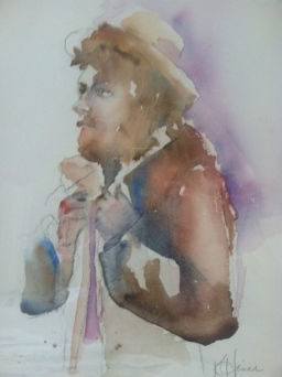 """Fisherman"" Watercolor 11x15"" $175"