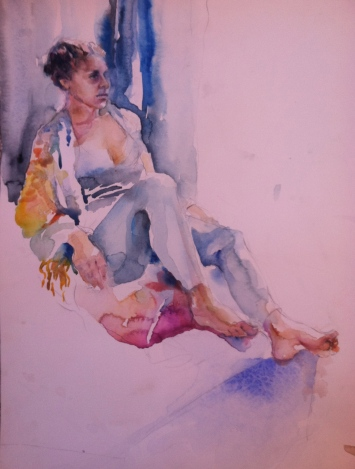 """""""Fadia with Shawl"""" Watercolor 12x16"""" $175"""