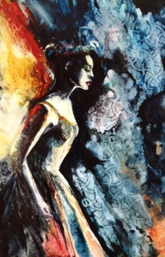 """""""The Passion Within"""" Watercolor on Yupo 20x13"""" $595"""