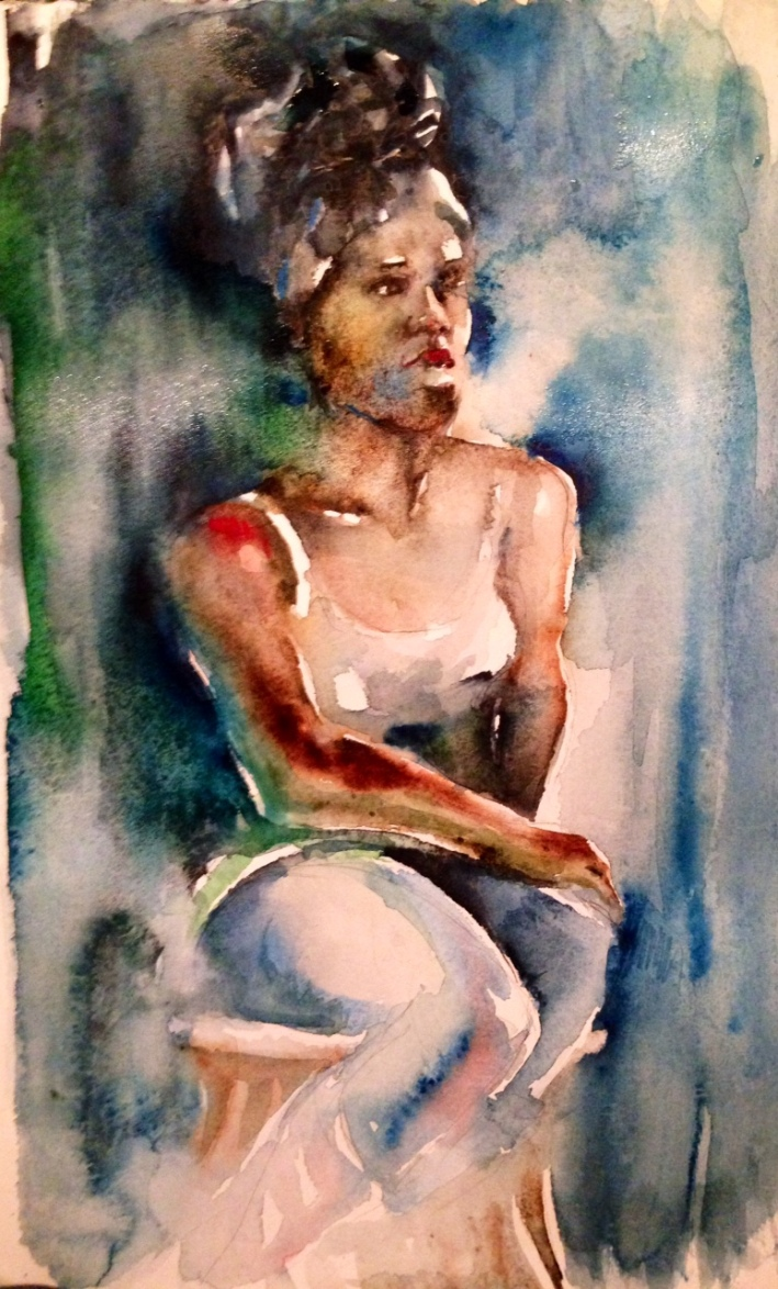 Watercolor painting from the model